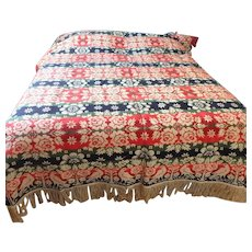 Signed 1836 PA Jacquard Woven Coverlet with Three Color Figured and Fancy Design.