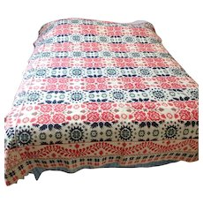 Signed 1851 Ohio Jacquard Woven Coverlet with 3 Color Figured and Fancy Design