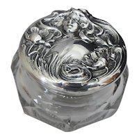 Art Nouveau Glass Dresser Jar with Sterling Lid Embossed with a Woman