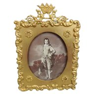 19th C. Crown and Griffin Topped Bronze Dore Table Top Picture Frame