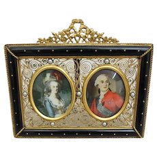 French Filigree Jeweled Double Table Top Frame with Miniature Portraits of Woman and Man