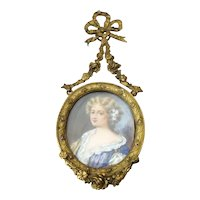 Signed Miniature Portrait of a Woman Painting in French Brass Dore Frame