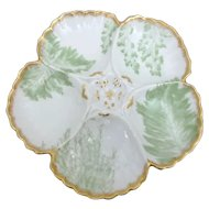 T&V Limoges French Porcelain Oyster Plate with Seaweed Motif