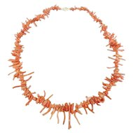 Natural Branch Coral Graduated Bead Necklace with 14K Gold Clasp