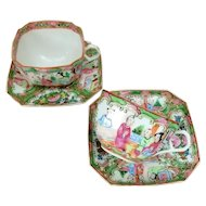 2 Square Chinese Export Rose Medallion Cups and Saucers with Fluted Corners