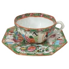 19th C. Octagonal Chinese Export Rose Medallion Cup and Saucer