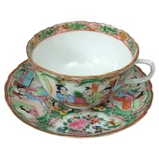19th C. Chinese Export Rose Medallion Scalloped Edge Cup and Saucer