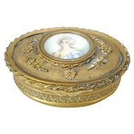 French Brass Jewelry Casket with Miniature Portrait Painting of a Woman