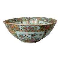 Large 19th C. Chinese Export Porcelain Rose Medallion Punch Bowl