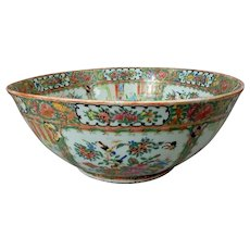 Large 19th C. Chinese Export Porcelain Rose Medallion Punch Bowl