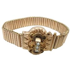 Victorian Gold Filled Cylinder Link Bracelet with Seed Pearls
