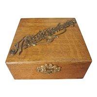 Victorian Oak Handkerchief Storage Box with Brass Trim