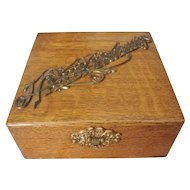 Victorian Oak Handkerchief Storage Box with Brass Trim