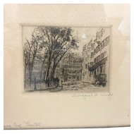 Signed Margaret Hardon Wright Etching of Louisburg Square, Boston