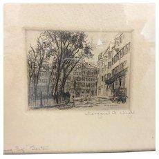Signed Margaret Hardon Wright Etching of Louisburg Square, Boston