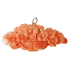 Carved Coral Basket of Flowers Pendant with 10K Gold Top