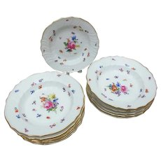 12 Meissen Neubrandenstein Rimmed Soup Bowl Plates with Flowers and Insects