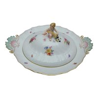 Meissen Neubrandenstein Footed Covered Serving Bowl with Putti Lid, Flowers and Insects