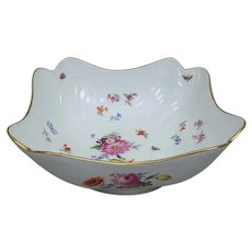 Meissen Neubrandenstein Square Serving Bowl with Flowers and Insects