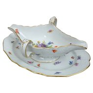 Meissen Neubrandenstein Double End Sauce Gravy Boat with Flowers and Insects