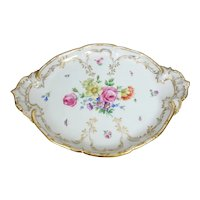 "KPM Berlin Hand Painted Flowers and Insects Platter, 16.5""L"