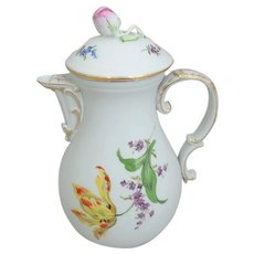 Large Meissen Floral Coffee Pot with Pink Rose Finial