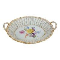 "Meissen Basketweave Lattice Handled Basket with Floral Spray, 9""L"