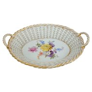 "Meissen Basketweave Lattice Handled Basket with Floral Spray, 9""L"