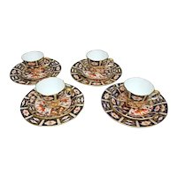 4 Royal Crown Derby 2451 Traditional Imari Trios – Demitasse Cup, Saucer, and Plate