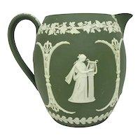 Large 19th C. Wedgwood Olive Green Jasperware Pitcher with Athena