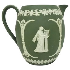 Large 19th C. Wedgwood Olive Green Jasperware Pitcher with Athena