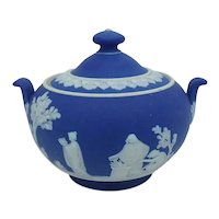 19th C. Dark Blue Wedgwood Jasperware Covered Sugar Bowl
