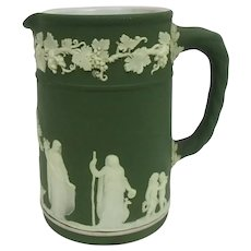 19th C. Wedgwood Olive Green Jasperware Creamer