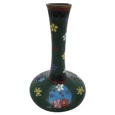 Antique Chinese Cloisonne Bud Vase with Dark Green Background