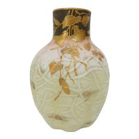 19th C. Harrach Glass Vase with Dendridic Textured Surface and Gilded Leaves