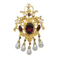 Signed Corocraft French Style Brooch with Amethyst Rhinestones and Faux Pearls