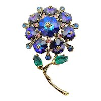 Signed Weiss Blue Rivoli Rhinestone Flower Pin
