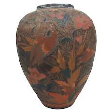 "Antique Japanese Bark Cloisonne Ginger Jar Vase with Flowers & Birds, 9""H"