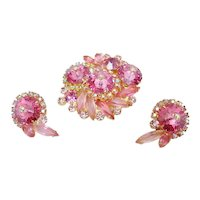 D&E Juliana Pink Rivoli and Aurora Rhinestone Pin & Earrings Demi-Parure