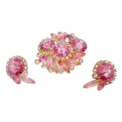 D&E Juliana Pink Rivoli and Aurora Rhinestone Pin & Earrings Demi-Parure