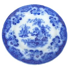 19th C. Samuel Alcock Sobraon Flow Blue Chinoiserie Plate
