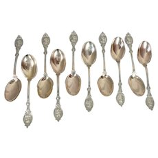 10 Hotchkiss & Schreuder Medallion Coin Silver Ice Cream Spoons