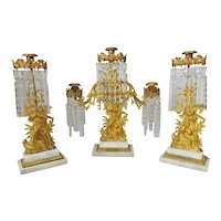 3 Piece Girandole  Candelabra  Set with Star Cut Prisms