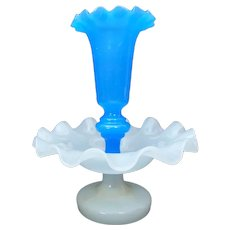 Blue & White Opalene Glass Epergne Centerpiece