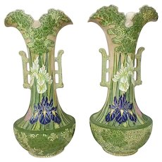 "Pair of Signed Japanese Satsuma Moriage Iris Vases, 17.5"" Tall"