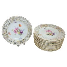 """12 Antique Meissen Floral Reticulated & Embossed Flowers 10"""" Dinner Plates"""