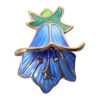 David Andersen Norway Enamel Sterling Silver Bluebell Pendant Charm