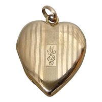 Solid 14K Yellow Gold Heart Shaped Locket Pendant