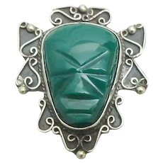 Carved Mexico Green Onyx Aztec Maya Face Sterling Silver Pendant/Pin