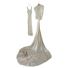 Art Deco Ivory Satin and Lace 2 Piece Wedding Gown with Train